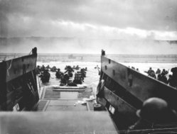 American troops disembark on Omaha Beach on D-Day, 6 June 1944