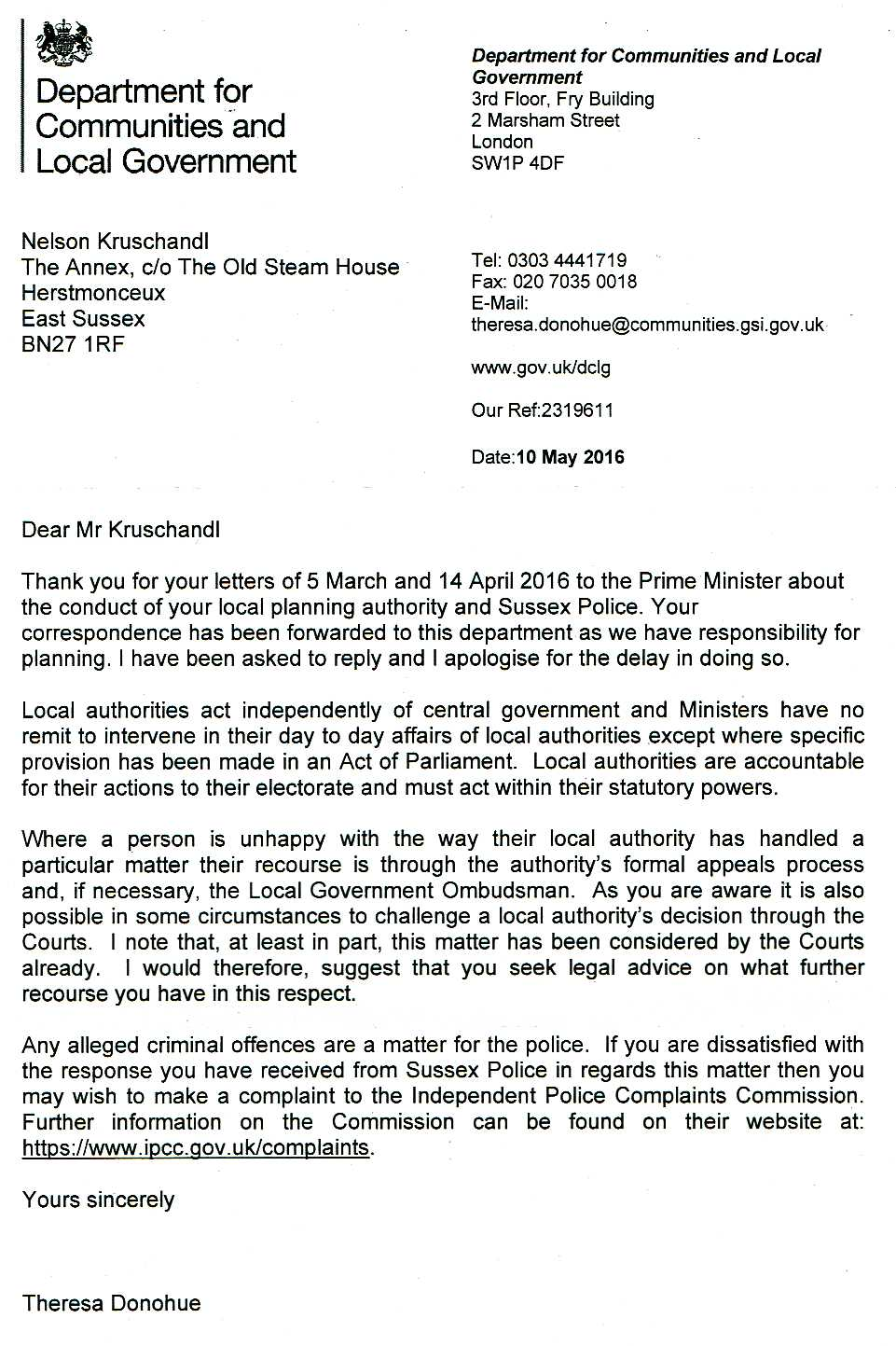 Letter from Department for Communities and Local Government 10 May 2016