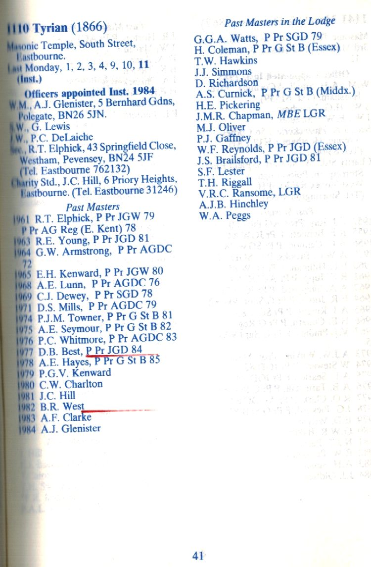 Masons list of past masters