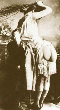 Lesbian spanking herself, Vitorian sepia print