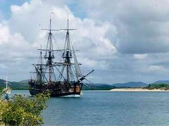 Lieutenant James Cook charted the East coast of Australia on HM Bark Endeavour, claiming the land for Britain in 1770. This replica was built in Fremantle in 1988 for Australia's bicentenary.
