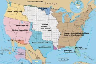 USA map depicting territorial acquisitions and dates of statehood