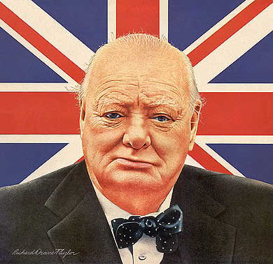 Portrait of Sir Winston Churchill - the British Bulldog