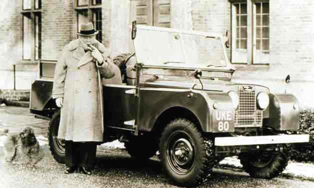 Sir Winston Churchill with Airedale Terrier and his Land Rover
