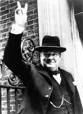 Winston Churchil V for victory salute world war II
