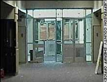 Columbine school West entrance of the school after the shooting massacre