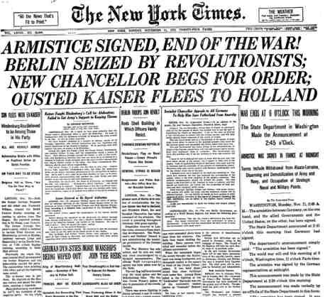 Front page of The New York Times on Armistice Day, November 11, 1918