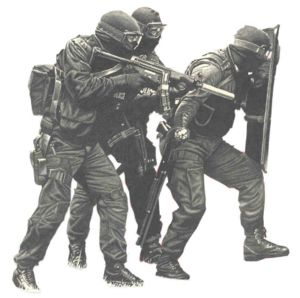 SWAT counter terrorist unit in action