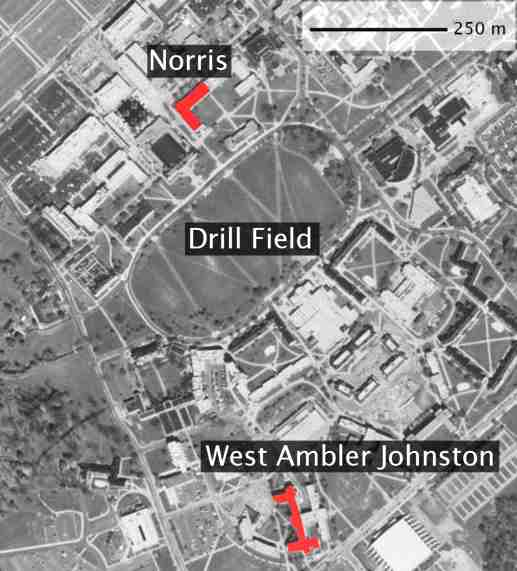 Aerial photo showing location of Norris and West Ambler Johnston Halls Virginia Tech