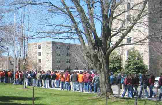 Virginia Tech shooting massacre students outside university halls