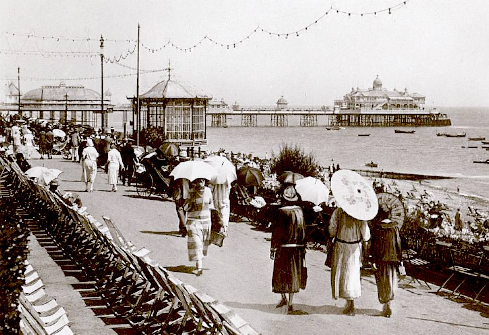 Eastbourne pier in the 1930s, deck chairs, promenade